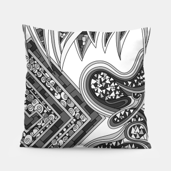 Thumbnail image of Wandering Abstract Line Art 47: Grayscale Pillow, Live Heroes