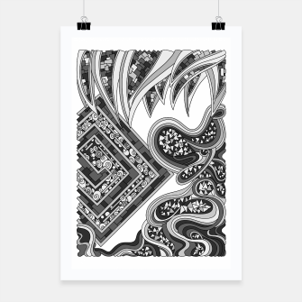 Thumbnail image of Wandering Abstract Line Art 47: Grayscale Poster, Live Heroes