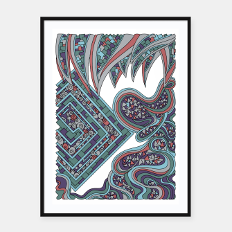Thumbnail image of Wandering Abstract Line Art 47: Blue Framed poster, Live Heroes