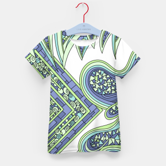 Thumbnail image of Wandering Abstract Line Art 47: Green Kid's t-shirt, Live Heroes
