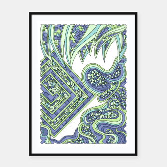 Thumbnail image of Wandering Abstract Line Art 47: Green Framed poster, Live Heroes