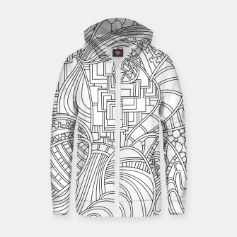 Thumbnail image of Wandering Abstract Line Art 48: Black & White Zip up hoodie, Live Heroes
