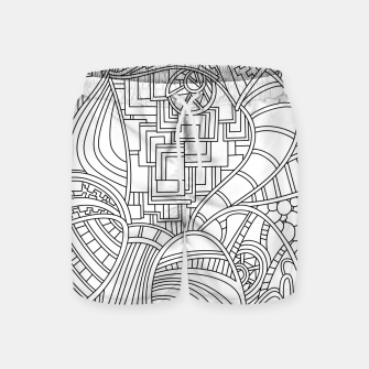 Thumbnail image of Wandering Abstract Line Art 48: Black & White Swim Shorts, Live Heroes