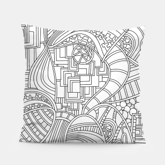 Thumbnail image of Wandering Abstract Line Art 48: Black & White Pillow, Live Heroes