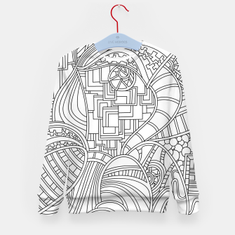 Thumbnail image of Wandering Abstract Line Art 48: Black & White Kid's sweater, Live Heroes