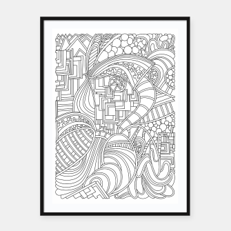 Thumbnail image of Wandering Abstract Line Art 48: Black & White Framed poster, Live Heroes