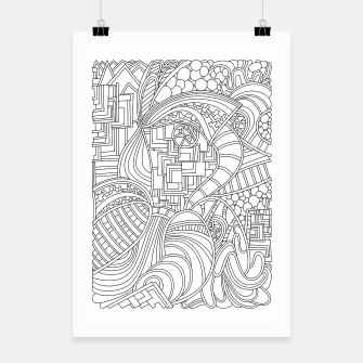 Thumbnail image of Wandering Abstract Line Art 48: Black & White Poster, Live Heroes