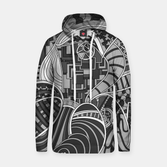 Thumbnail image of Wandering Abstract Line Art 48: Grayscale Hoodie, Live Heroes