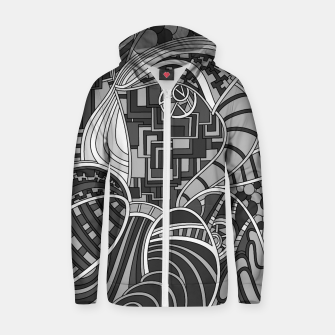 Thumbnail image of Wandering Abstract Line Art 48: Grayscale Zip up hoodie, Live Heroes