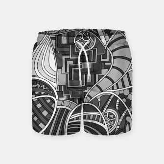Thumbnail image of Wandering Abstract Line Art 48: Grayscale Swim Shorts, Live Heroes