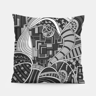 Thumbnail image of Wandering Abstract Line Art 48: Grayscale Pillow, Live Heroes