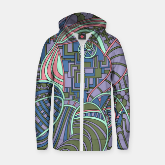 Thumbnail image of Wandering Abstract Line Art 48: Green Zip up hoodie, Live Heroes