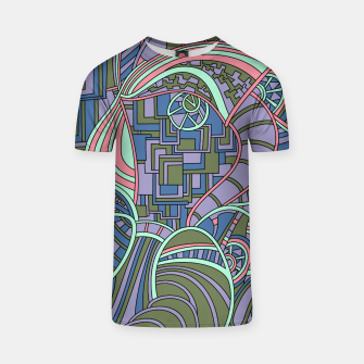 Thumbnail image of Wandering Abstract Line Art 48: Green T-shirt, Live Heroes