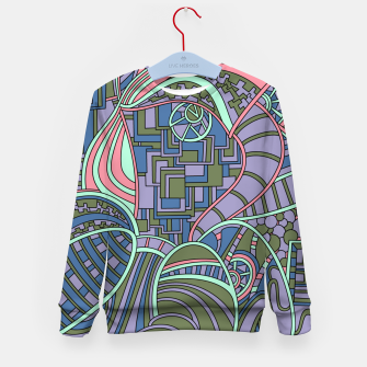 Thumbnail image of Wandering Abstract Line Art 48: Green Kid's sweater, Live Heroes