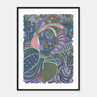 Thumbnail image of Wandering Abstract Line Art 48: Green Framed poster, Live Heroes
