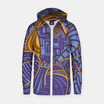 Thumbnail image of Wandering Abstract Line Art 48: Purple Zip up hoodie, Live Heroes