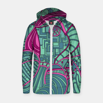 Thumbnail image of Wandering Abstract Line Art 48: Magenta Zip up hoodie, Live Heroes