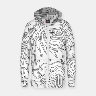 Thumbnail image of Wandering Abstract Line Art 49: Black & White Zip up hoodie, Live Heroes