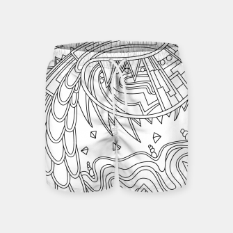 Thumbnail image of Wandering Abstract Line Art 49: Black & White Swim Shorts, Live Heroes