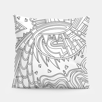 Thumbnail image of Wandering Abstract Line Art 49: Black & White Pillow, Live Heroes