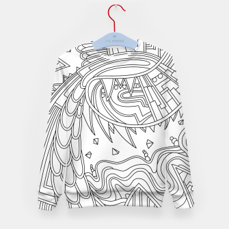 Thumbnail image of Wandering Abstract Line Art 49: Black & White Kid's sweater, Live Heroes