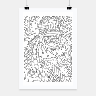 Thumbnail image of Wandering Abstract Line Art 49: Black & White Poster, Live Heroes