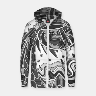 Thumbnail image of Wandering Abstract Line Art 49: Grayscale Zip up hoodie, Live Heroes
