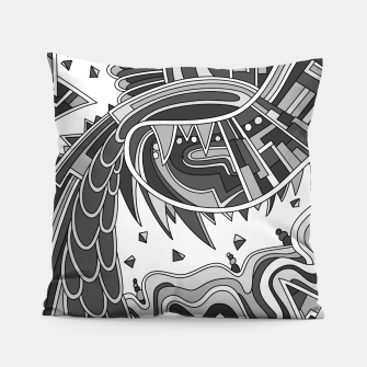 Thumbnail image of Wandering Abstract Line Art 49: Grayscale Pillow, Live Heroes