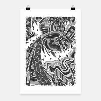 Thumbnail image of Wandering Abstract Line Art 49: Grayscale Poster, Live Heroes
