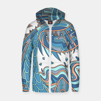 Thumbnail image of Wandering Abstract Line Art 49: Blue Zip up hoodie, Live Heroes