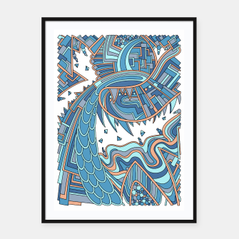 Thumbnail image of Wandering Abstract Line Art 49: Blue Framed poster, Live Heroes