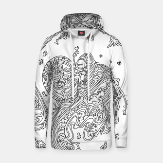 Thumbnail image of Wandering Abstract Line Art 50: Black & White Hoodie, Live Heroes