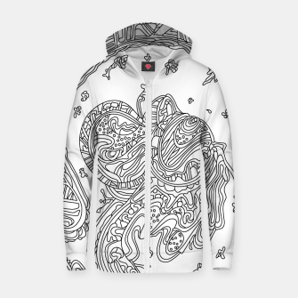 Thumbnail image of Wandering Abstract Line Art 50: Black & White Zip up hoodie, Live Heroes