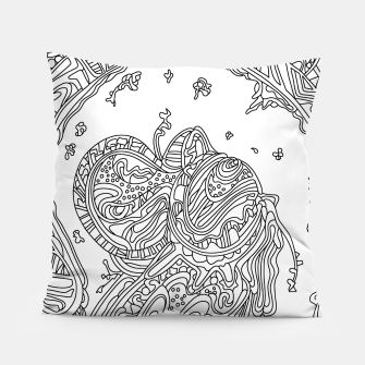 Thumbnail image of Wandering Abstract Line Art 50: Black & White Pillow, Live Heroes