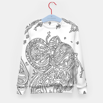 Thumbnail image of Wandering 50: black & white line art Kid's sweater, Live Heroes