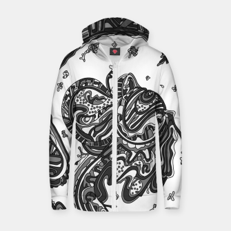 Thumbnail image of Wandering Abstract Line Art 50: Grayscale Zip up hoodie, Live Heroes