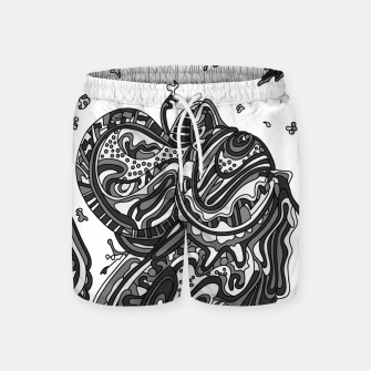 Thumbnail image of Wandering Abstract Line Art 50: Grayscale Swim Shorts, Live Heroes
