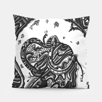 Thumbnail image of Wandering Abstract Line Art 50: Grayscale Pillow, Live Heroes