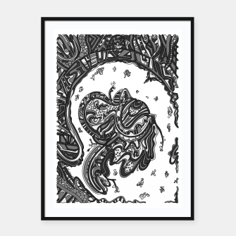 Thumbnail image of Wandering Abstract Line Art 50: Grayscale Framed poster, Live Heroes