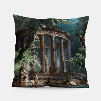 Thumbnail image of The Bathing Pool by Hubert Robert 2nd Edition Pillow, Live Heroes
