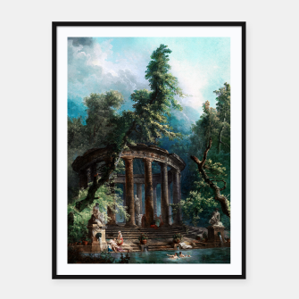 Thumbnail image of The Bathing Pool by Hubert Robert 2nd Edition Framed poster, Live Heroes
