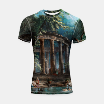 Thumbnail image of The Bathing Pool by Hubert Robert 2nd Edition Shortsleeve rashguard, Live Heroes