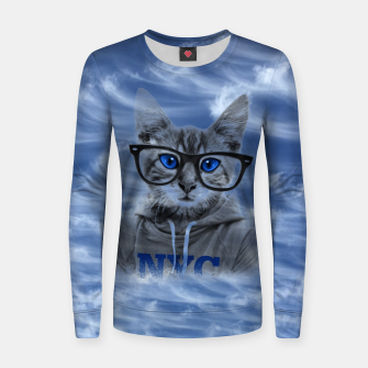 Thumbnail image of NY Cat and Blue Sky Women sweater, Live Heroes