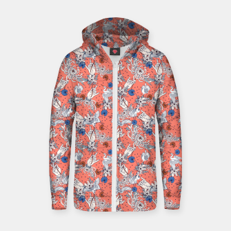 Thumbnail image of Flowered Asian illustration Sudadera con capucha y cremallera , Live Heroes