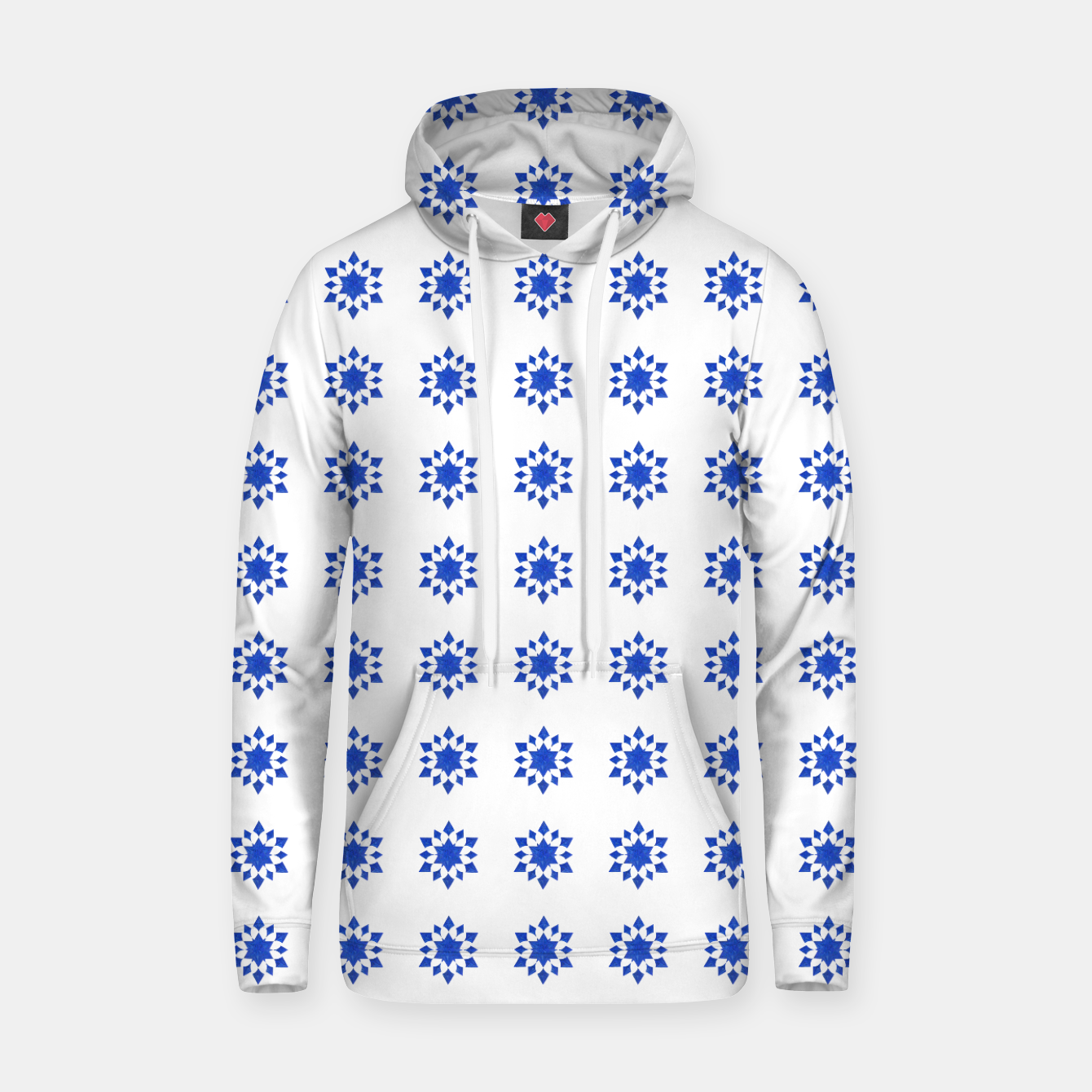Image of Communication Wealth Amulet Blue Pattern Hoodie - Live Heroes