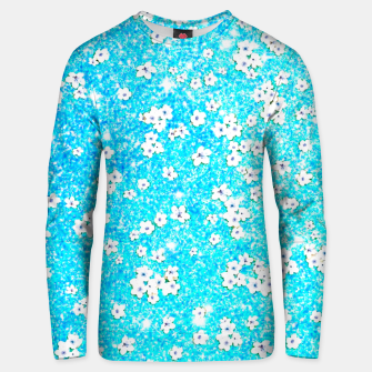 turquoise blue white floral pattern Unisex sweater obraz miniatury