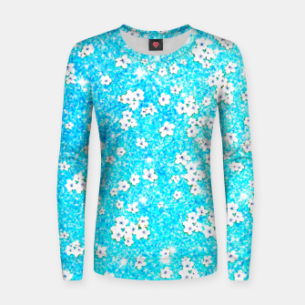 turquoise blue white floral pattern Women sweater Bild der Miniatur