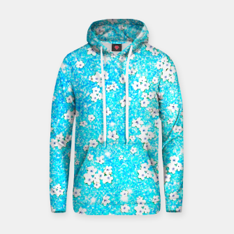 turquoise blue white floral pattern Hoodie obraz miniatury