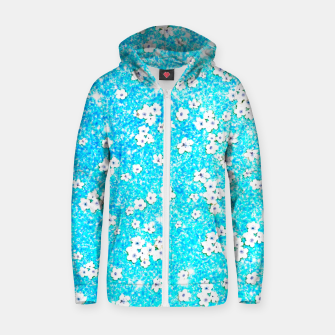 turquoise blue white floral pattern Zip up hoodie obraz miniatury