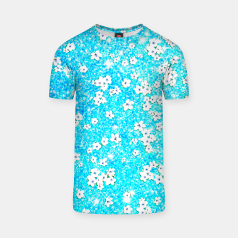 Miniaturka turquoise blue white floral pattern T-shirt, Live Heroes